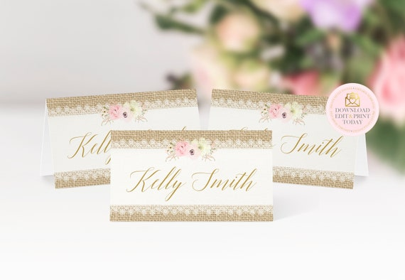 It's just a photo of Printable Wedding Place Cards with regard to party
