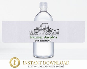 Tractor Birthday Water Bottle Labels, Farm Birthday, Tractor Party, Farm Party, Printable Tractor Labels, Water Bottle Label, Personalized