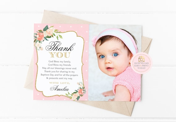 Peach Gold Baptism Thank You Card Christening Thank You Card First Communion Girl Thank You Baptism Thank You Thank You Note Printable By Pretty Little Invites Catch My Party