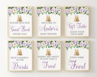 Winnie The Pooh Table Sign Bundle, Classic Pooh Bear Baby Shower Welcome Sign With Purple Lavender Flowers, Guest Book, Food & Drink Signs