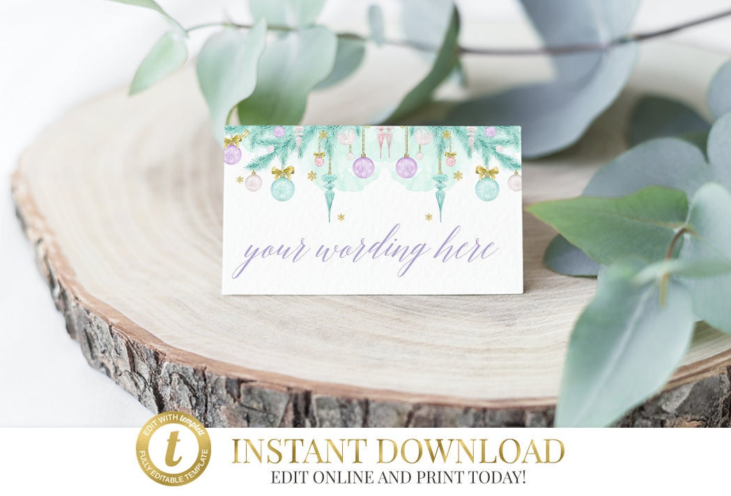 Christmas Printable Place Cards, INSTANT DOWNLOAD, Christmas Place ...