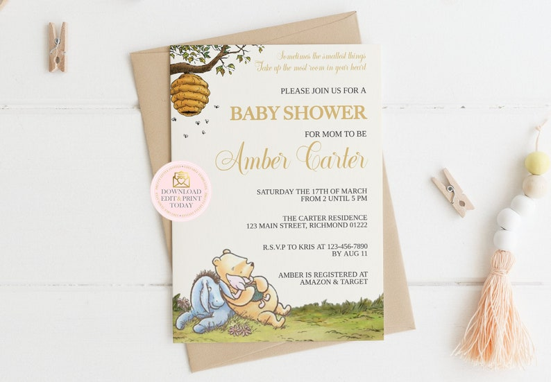 photo relating to Printable Winnie the Pooh Baby Shower Invitations identified as Winnie the Pooh Youngster Shower Invitation - Printable Winnie the Pooh Youngster Shower Invitation - Youngster Shower Invitation - Winnie the Pooh 03