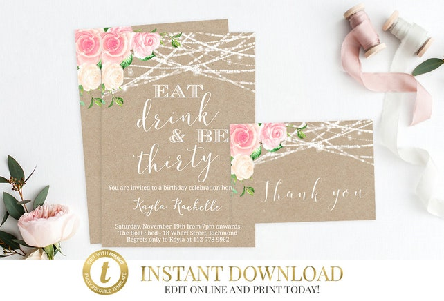 INSTANT DOWNLOAD Printable Invitation Bundle Adult Birthday Party Invite Editable 30th
