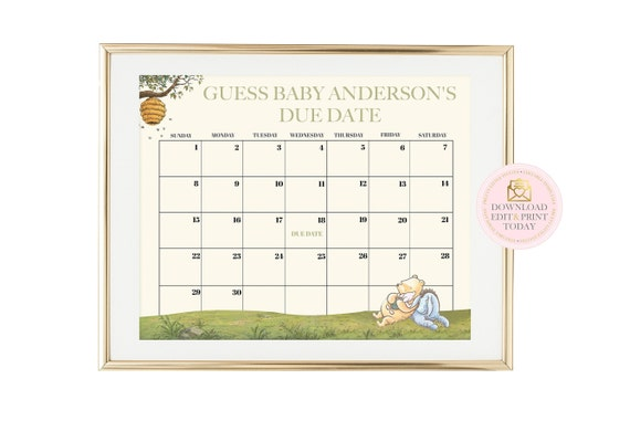 picture regarding Printable Pregnancy Calendar called Winnie The Pooh Printable Being pregnant Calendar, Basic Winnie