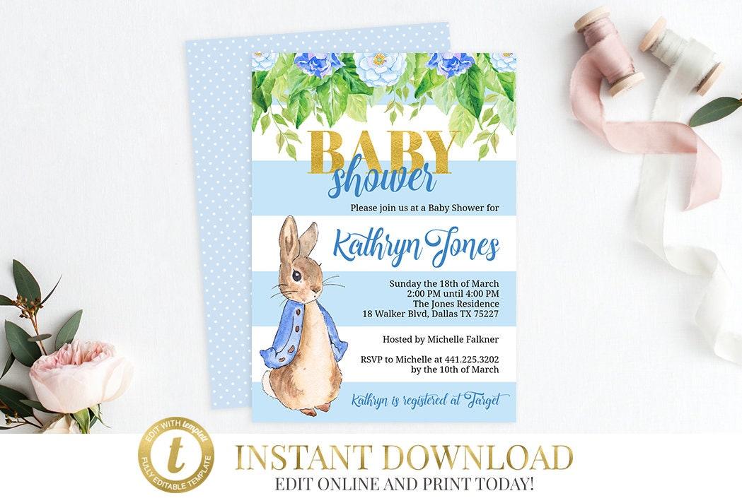 Peter Rabbit Baby Shower Invitation Peter Rabbit Shower Invite