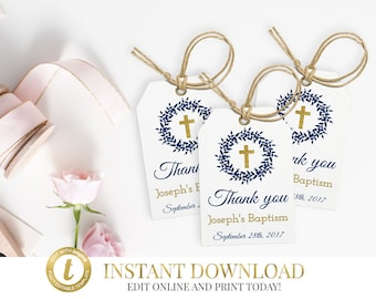 Baptism Favor Tags, Christening Tags, Baptism Tags, Party Favor Tags, Thank You Tags, Personalized Tags, Communion Favor Tags, Printable Tag
