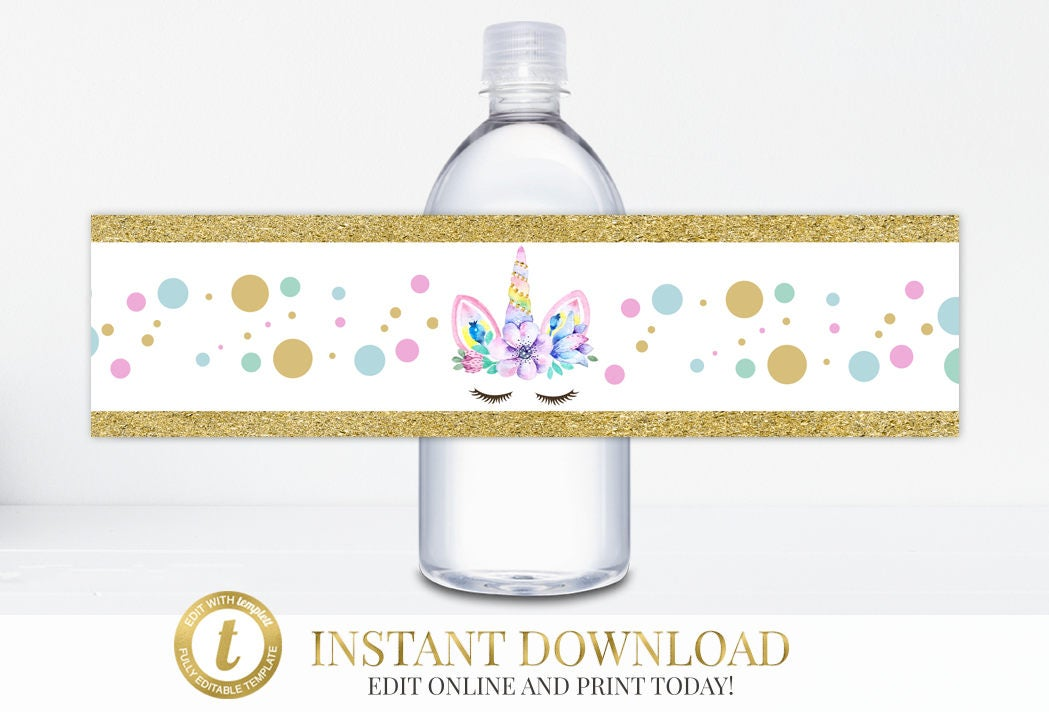Instant Download Unicorn Party Water Bottle Labels Unicorn Birthday