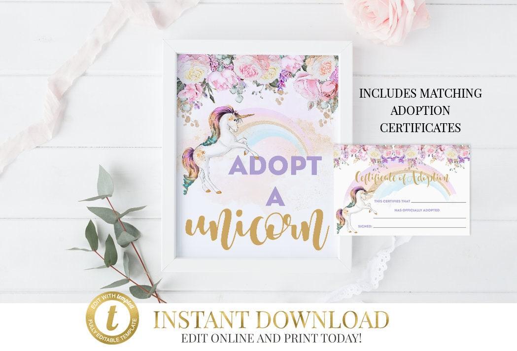 Adopt A Unicorn Certificate Adopt A Unicorn Unicorn Unicorn Party