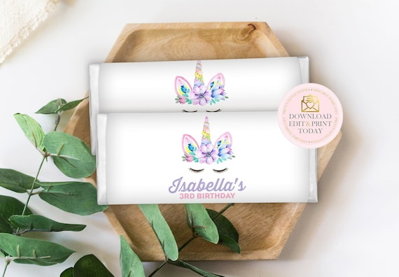 Unicorn Chocolate Wrappers, Aldi Chocolate Wrappers, Printable Candy  Wrapper, Hershey Wrappers, Unicorn Party, INSTANT DOWNLOAD, Unicorn
