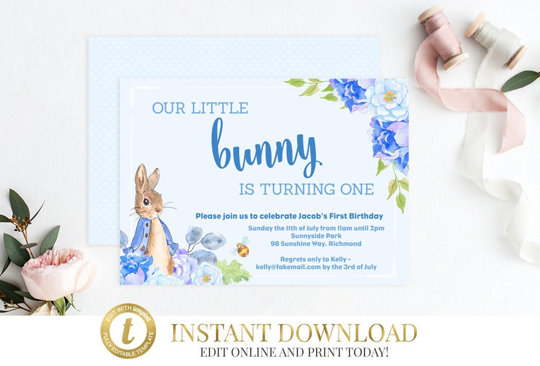 Boys peter rabbit birthday invitation peter rabbit baby shower boys peter rabbit birthday invitation peter rabbit baby shower invitation peter rabbit invite printable birthday invitation editable filmwisefo