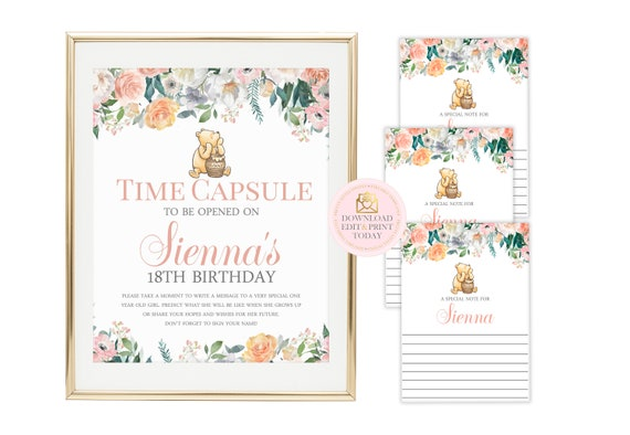 image relating to Time Capsule Printable referred to as Clic Pooh Year Capsule, Winnie the Pooh Season Capsule