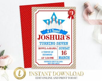 Bowling Invitation, Bowling Birthday, Bowling Invite, Birthday Invitation, Bowling Party Invite, Printable Invitation, Bowling Party.