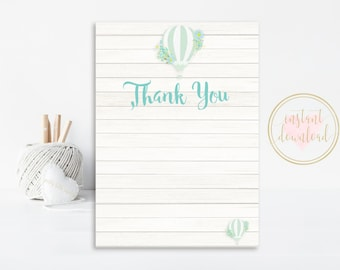 Hot Air Balloon Thank You Card, Up Up And Away, Printable Thank You, Hot Air Balloon, INSTANT DOWNLOAD, Thank You Cards, Thank You Note