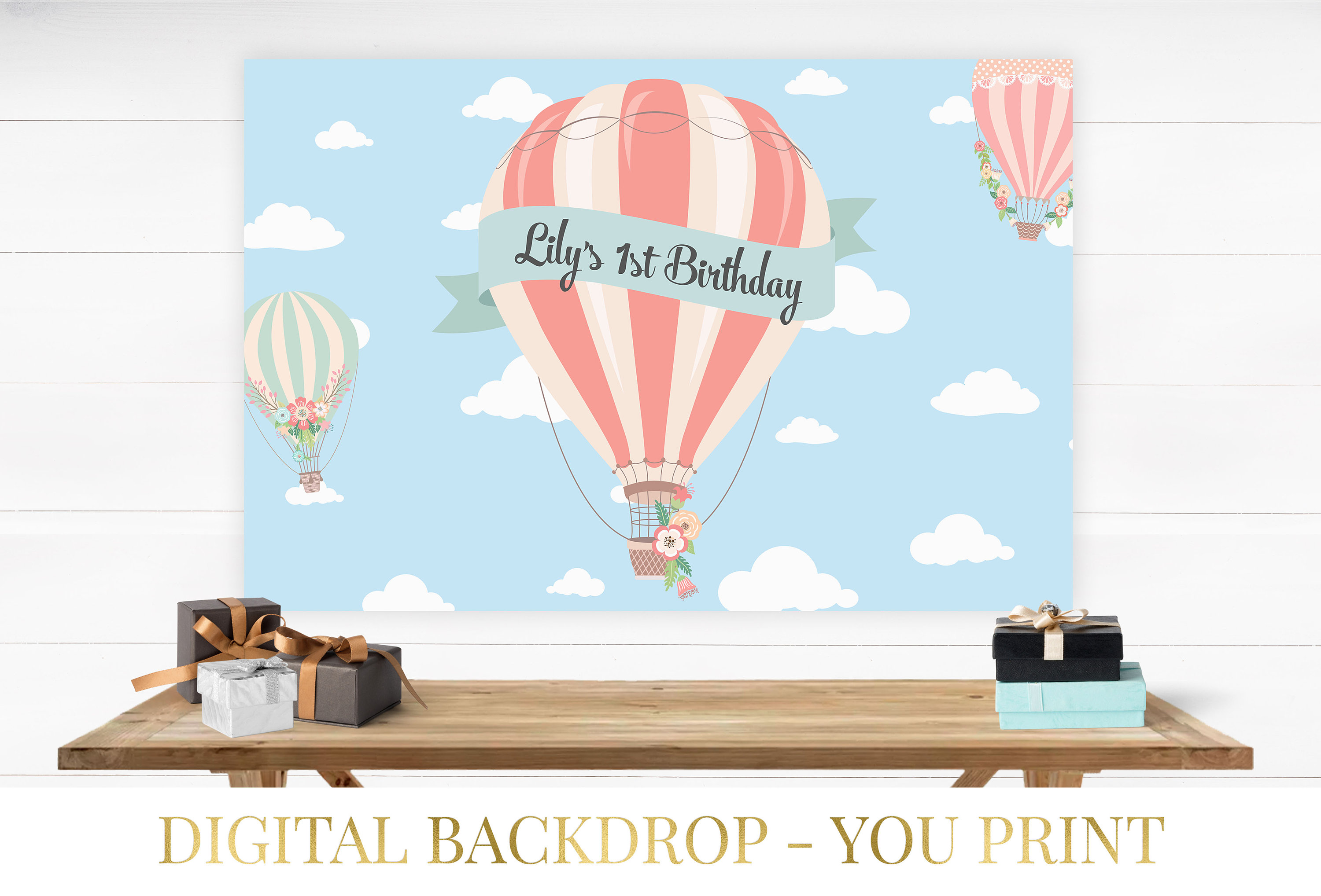 Up Up And Away Backdrop Hot Air Balloon Backdrop Baby Shower