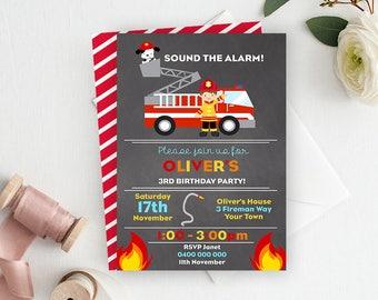 Firefighter Invitation - Printable Invitation - Birthday Invitation - Invite - Personalized Invitation - Fireman - Firetruck