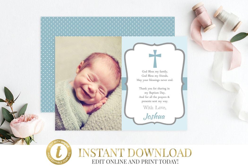 Boy Baptism Thank You Card Baptism Thank You Christening Thank You