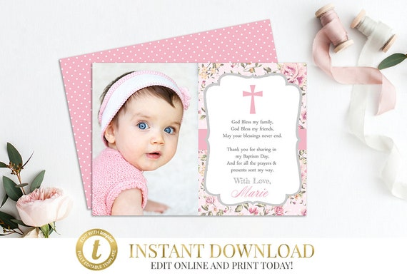 printable thank you card template instant download baptism etsy