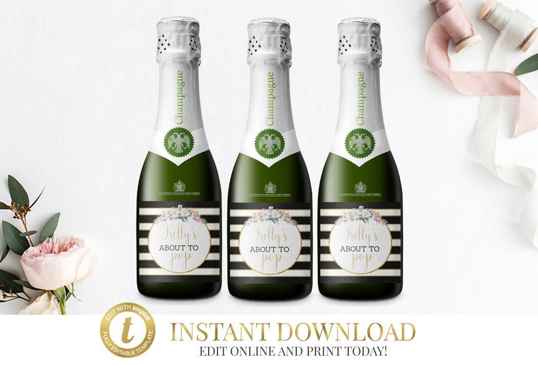 Mini Champagne Bottle Labels Baby Shower Mini Champagne Labels - Mini champagne bottle labels template