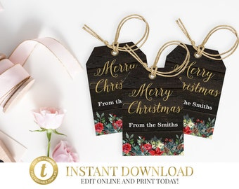 Rustic Christmas Holiday Gift Tags, Christmas Tags, Rustic Christmas Tag, Christmas Gift Tags, Christmas Favor Tags, Printable Tags Templett