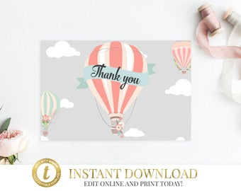Hot Air Balloon Thank You Card, Baby Shower Thank You INSTANT DOWNLOAD, Printable, Up Up and Away, Balloon Baby Shower, Thank You Cards Pink