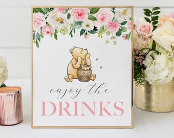 Winnie The Pooh Enjoy The Drinks Printable Sign with Pink Flowers, Editable Baby Shower Or Birthday Sign Template, DIY Table Sign 8 x 10
