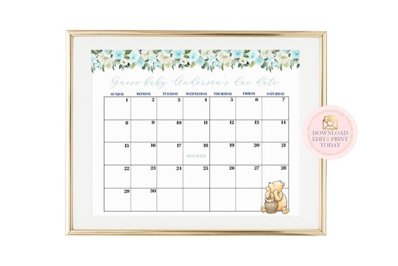 image about Printable Pregnancy Calendar titled Typical Pooh Printable Being pregnant Calendar, Winnie The Pooh