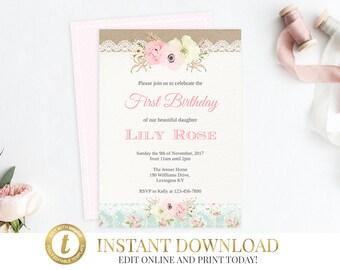 Shabby Chic Invitation, Girl Birthday Invitation, Printable Invitation, First Birthday Invitation, Vintage Invitation, Printable Invitation