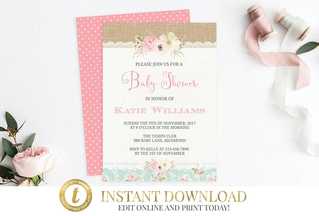 Shabby Chic Baby Shower Invitation Printable Invitation Girl Baby