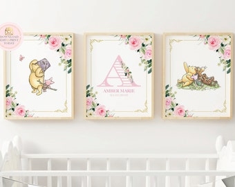 Winnie The Pooh Nursery Wall Art For A Girl Nursery, Baby Shower Gift Idea, Printable Kids Room Decor, Editable Piglet Tigger & Classic Pooh