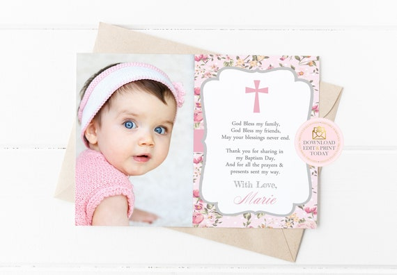 Printable Thank You Card Template Instant Download Baptism Thank You Cards Baptism Thank You Christening Thank You First Communion Pink By Pretty Little Invites Catch My Party