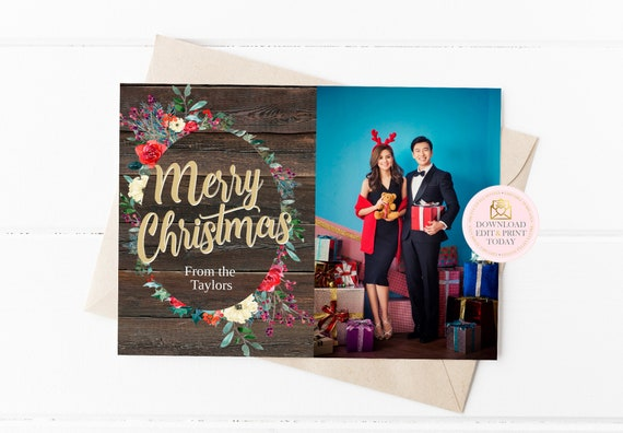 Rustic Christmas Photo Card Template Printable Christmas Photo Holiday Card Family Christmas Card Template Watercolor Christmas By Pretty Little Invites Catch My Party