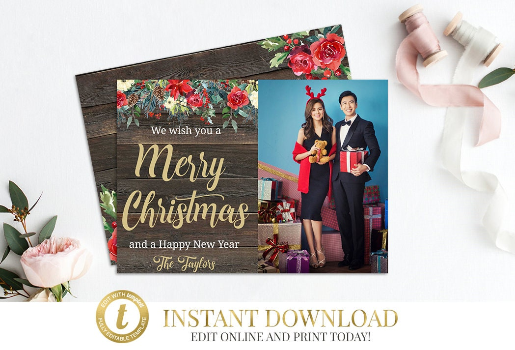 Templett Christmas Card, Rustic Christmas Card, INSTANT DOWNLOAD ...