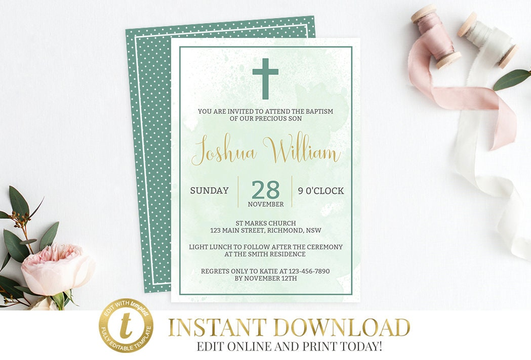 Baptism Invitation Christening Invite Watercolor Baptism Invite