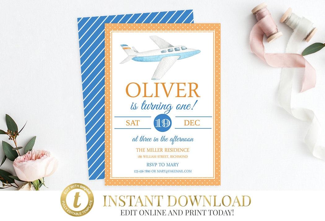 Airplane Invitation Party Birthday