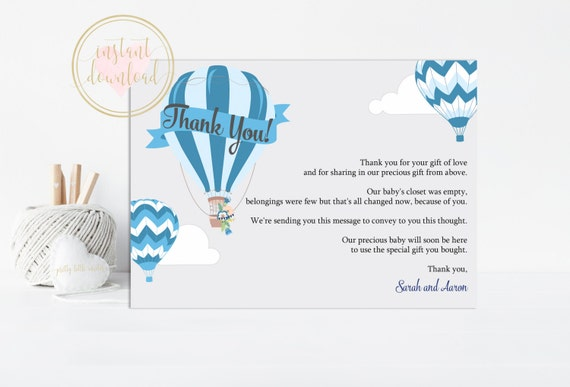 Blue Hot Air Balloon Thank You Card Baby Shower Thank You Etsy