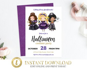 INSTANT DOWNLOAD Halloween Costume Party Invitation, Halloween Party Invitation, Halloween Invitation, Printable Invitation Halloween Invite