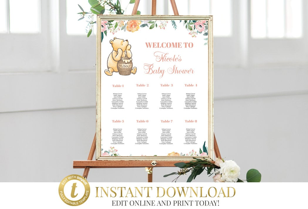 Classic Pooh Baby Shower Seating Chart, Printable Find Your Seat ...