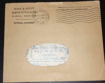 vintage 1944 V-Mail service envelope with message