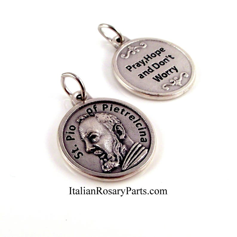 St Padre Pio Pray Hope and Don't Worry Italian Medal  image 0