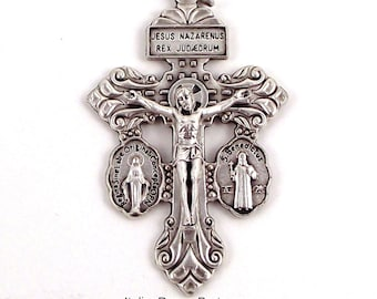 3-Way Pardon Crucifix w Miraculous and Saint Benedict Crossbar Medals Triple Threat Italian Crucifix | Italian Rosary Parts