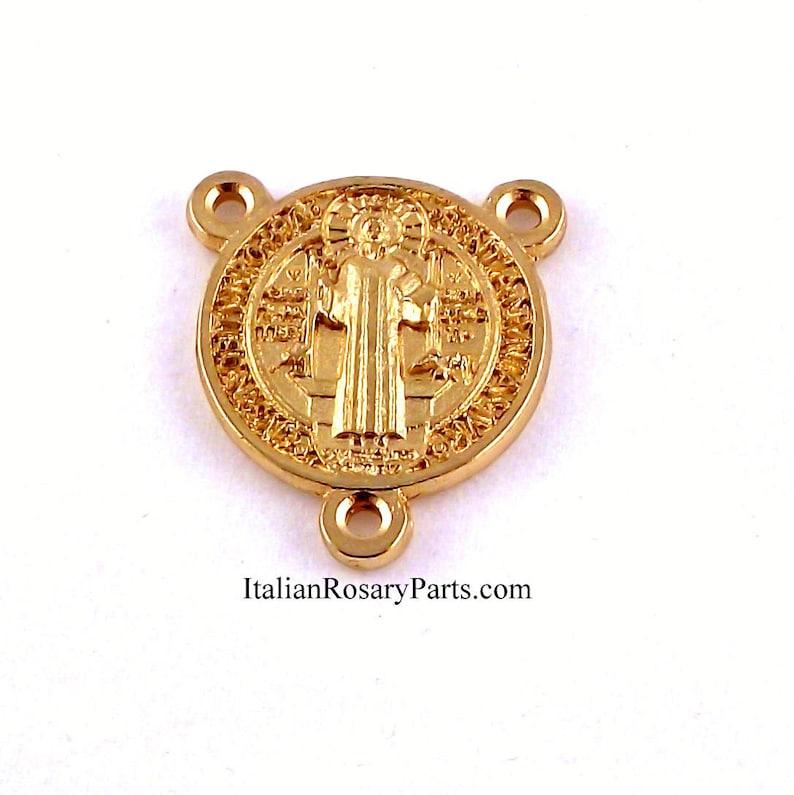Saint Benedict Gold Tone Rosary Center Medal Round  Italian image 0