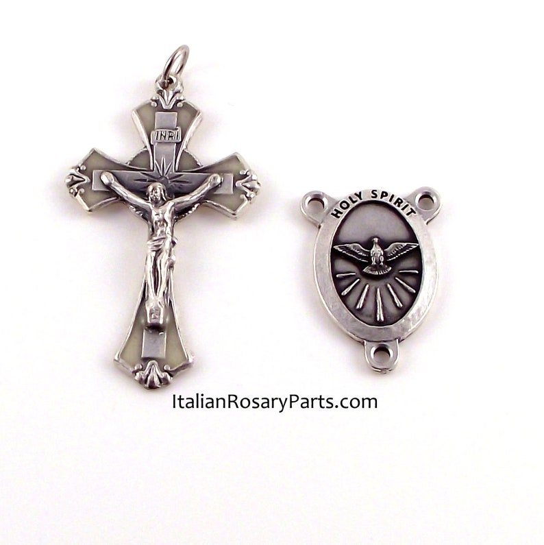 Holy Spirit Glow In The Dark Crucifix Rosary Crucifix and image 0