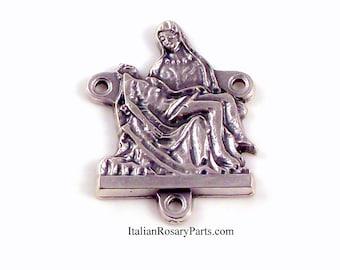 La Pieta Rosary Center Medal Virgin Mary and Jesus   Italian Rosary Parts