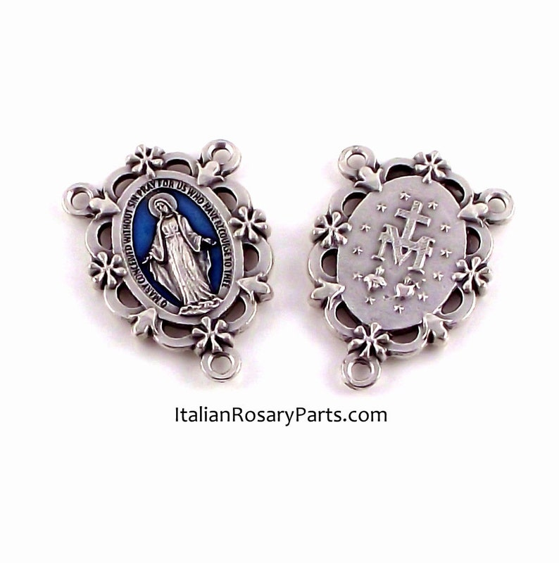 Miraculous Medal Rosary Center Set In Frame of Flowers w Blue image 0