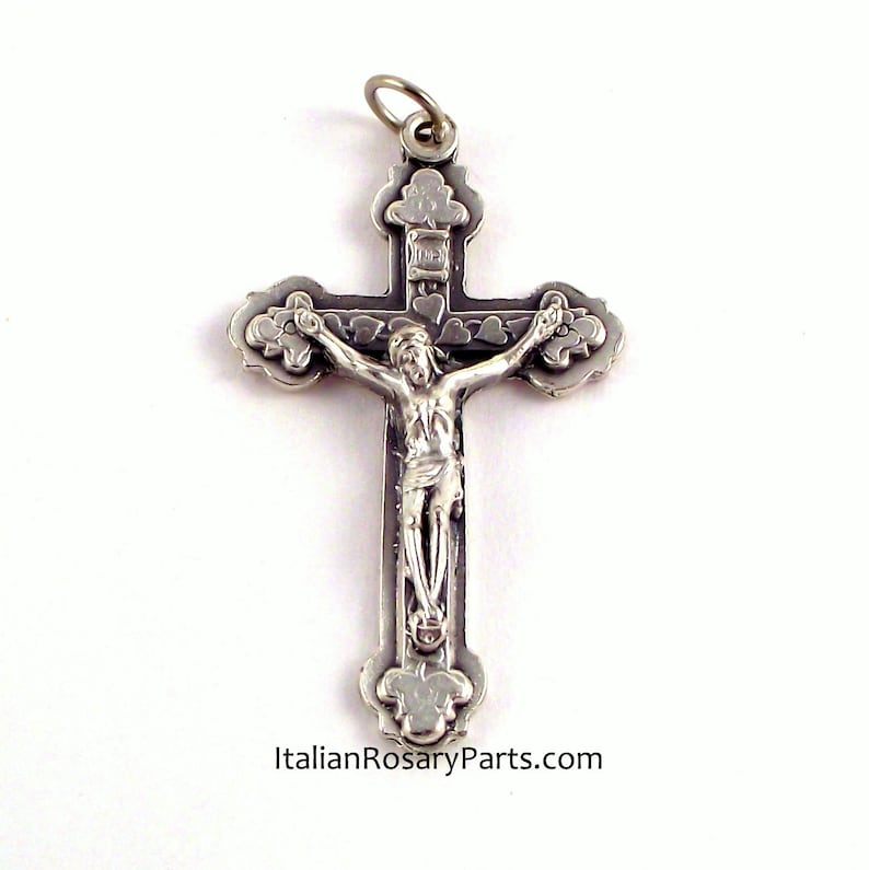 Hearts and Clover Italian Rosary Crucifix Pendant Italian image 0