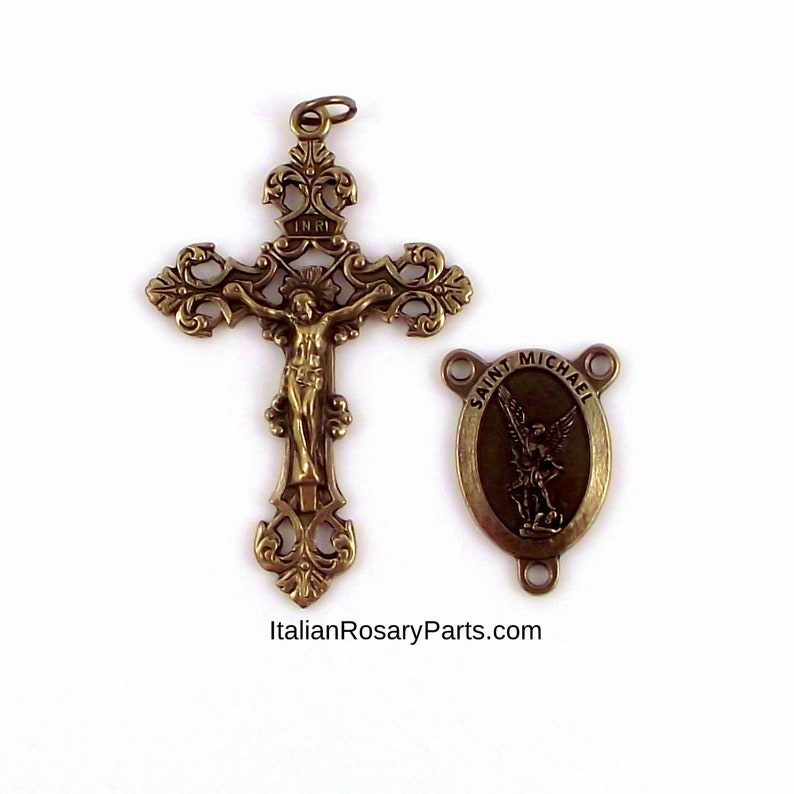 Bronze Rosary Center and Crucifix Set Saint Michael with image 0