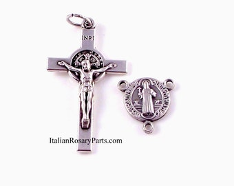 St Benedict Italian Rosary Medal and Crucifix Set 1-1/2 Inch | Italian Rosary Parts