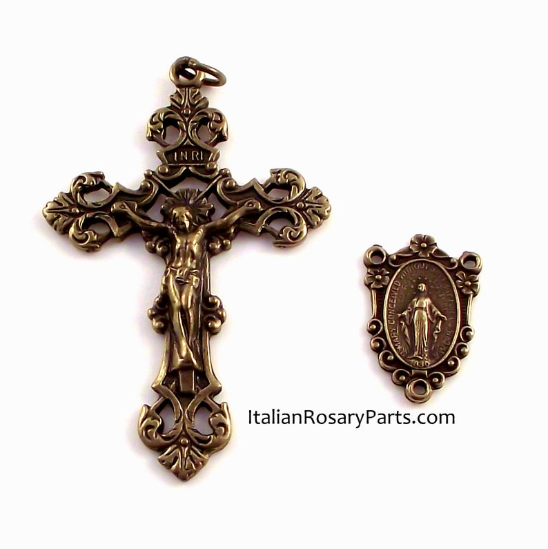 Rosary Center and Crucifix Set Bronze Finish Miraculous Medal image 0