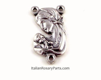 Virgin Mary with Baby Jesus Rosary Center Medal   Italian Rosary Parts