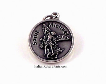 Saint Michael The Archangel Medal With Rise To Challenge Prayer   Italian Rosary Parts